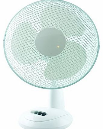 White 12`` 2 Speed Oscillating Desk top Fan with adjustable tilt Cold Air For Office and Home