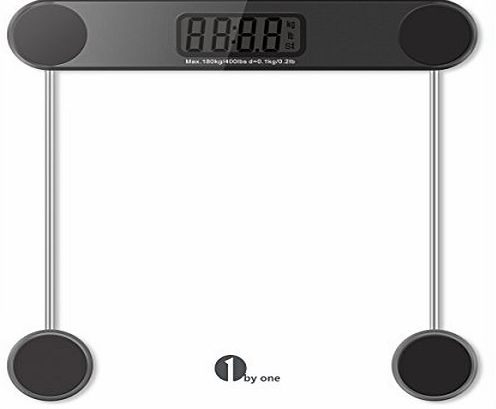 1byone Digital Body Weight Bathroom Scale, 180kg/400lb, Tempered Glass and Step-on Technology, Precision 0.1kg/0.2lb, Black