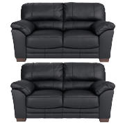 Madrid Regular Leather Fixed Seat Sofas, Black