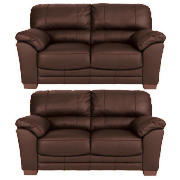 Madrid Regular Leather Fixed Seat Sofas, Brown