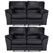Madrid Regular Leather Recliner Sofas, Black