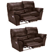 Madrid Regular Leather Recliner Sofas, Brown