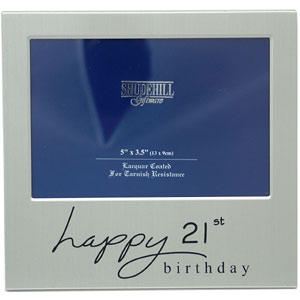 21st Birthday Satin Silver Photo Frame product image