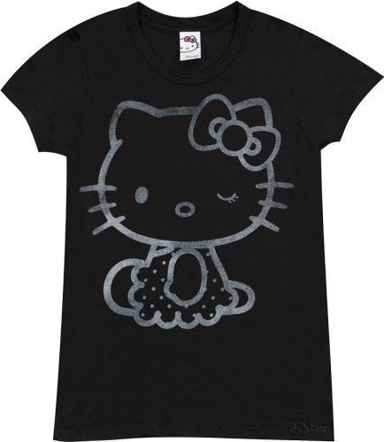 Winking Hello Kitty Ladies Black T-Shirt from Mighty Fine