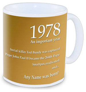 The perfect gift to mark a special birthday. Our 1978 Radio Theme Mug can be personalised with the n - CLICK FOR MORE INFORMATION