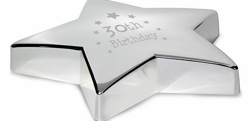 30th Birthday Star Paperweight product image
