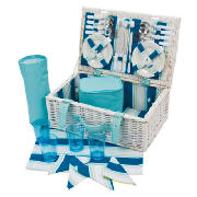 4 Person Picnic Basket, Coastal Stripe