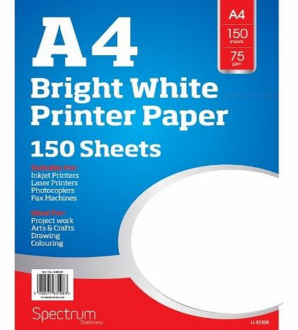 A4 75gsm Bright White Printer Copier Paper Office Home Copy Printing 150 Sheets