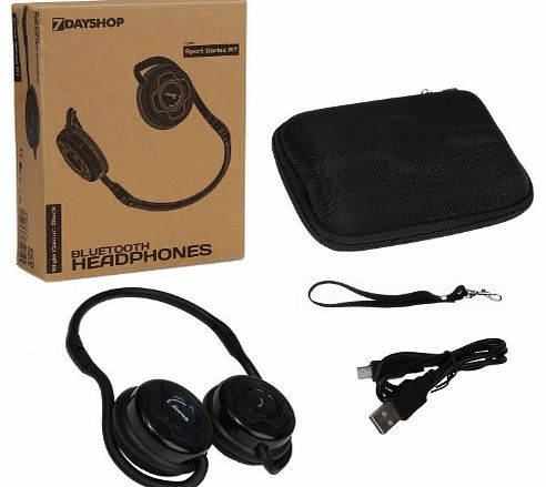7dayshop R7 Sport Series Bluetooth Wireless Stereo Headphones - Built in Mic - Ideal for use with iPad, iPhone, Tablets, Smartphones, laptops and PCs using VOIP and SKYPE - Black - Eco Packaging & product image