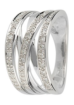9ct Gold 0.20ct Diamond set Crossover Ring