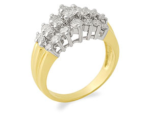 9ct Gold 1 Carat Diamond Cluster Ring - 049201 product image