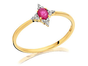 and Diamond Solitaire Ring 180917-J