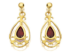 and Garnet Drop Earrings 071452