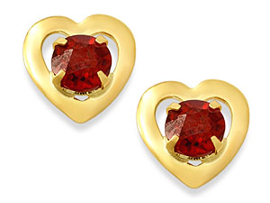 and Garnet Heart Earrings 073902