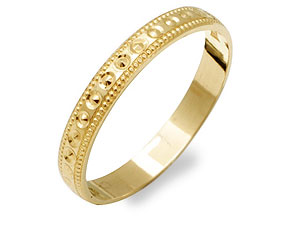 9ct Gold Beaded Edge Brides Wedding Ring 3mm - product image