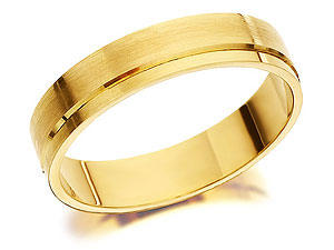 9ct Gold Brushed Finish Brides Wedding Ring 4mm