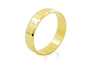 9ct Gold Chamfered Edge Brides Wedding Ring 4mm