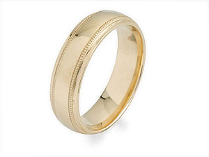 9ct Gold Court Beaded Brides Wedding Ring 5mm - product image