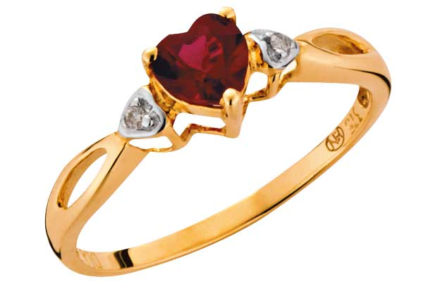 9ct gold Created Ruby and Diamond Heart Ring product image