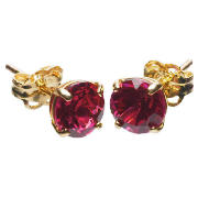 Created Ruby Earrings - Birthstone for