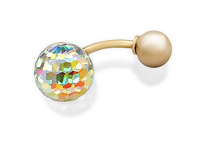 9ct Gold Crystal Ball Belly Bar 8mm - 074711 product image