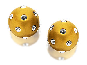 9ct Gold Crystal Set Disco Ball Earrings 8mm - product image
