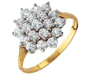 9ct gold Cubic Zirconia Round Cluster Ring product image