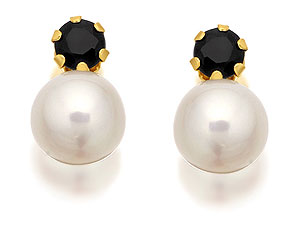 9ct Gold Cultured Pearl And Sapphire Earrings - product image