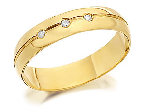 9ct Gold Diamond Set Brides Wedding Ring 4mm - product image