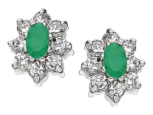 Emerald and Cubic Zirconia Flower