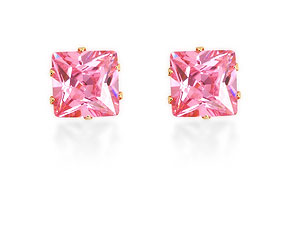Large Pink Cubic Zirconia Earrings 072779