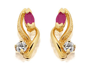 Marquise Ruby and Cubic Zirconia Swirls