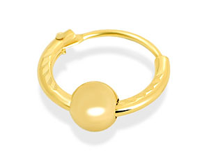 9ct Gold Mens Single Diamond Cut Ball and Hoop product image