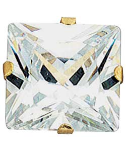 9ct Gold Mens Square Cubic Zirconia Stud Earrings product image