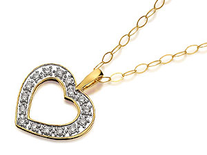 9ct Gold Pav Set Open Diamond Heart Pendant And product image