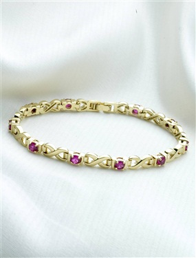 9ct Gold Plated 10-Stone Ruby and White Cubic