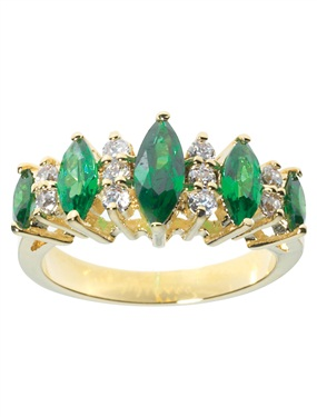 9ct Gold Plated 15-Stone Emerald and Cubic
