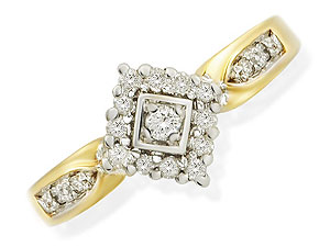 9ct gold Rhombus Diamond Cluster Ring 046038-O product image