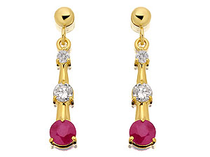 Ruby and Cubic Zirconia Drop Earrings