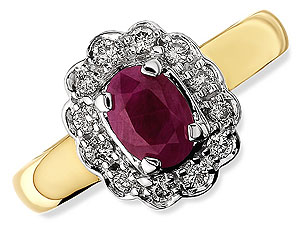 9ct gold Ruby and Diamond Cluster Ring 047412-N product image