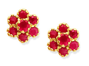9ct Gold Ruby Cluster Earrings 070588 product image