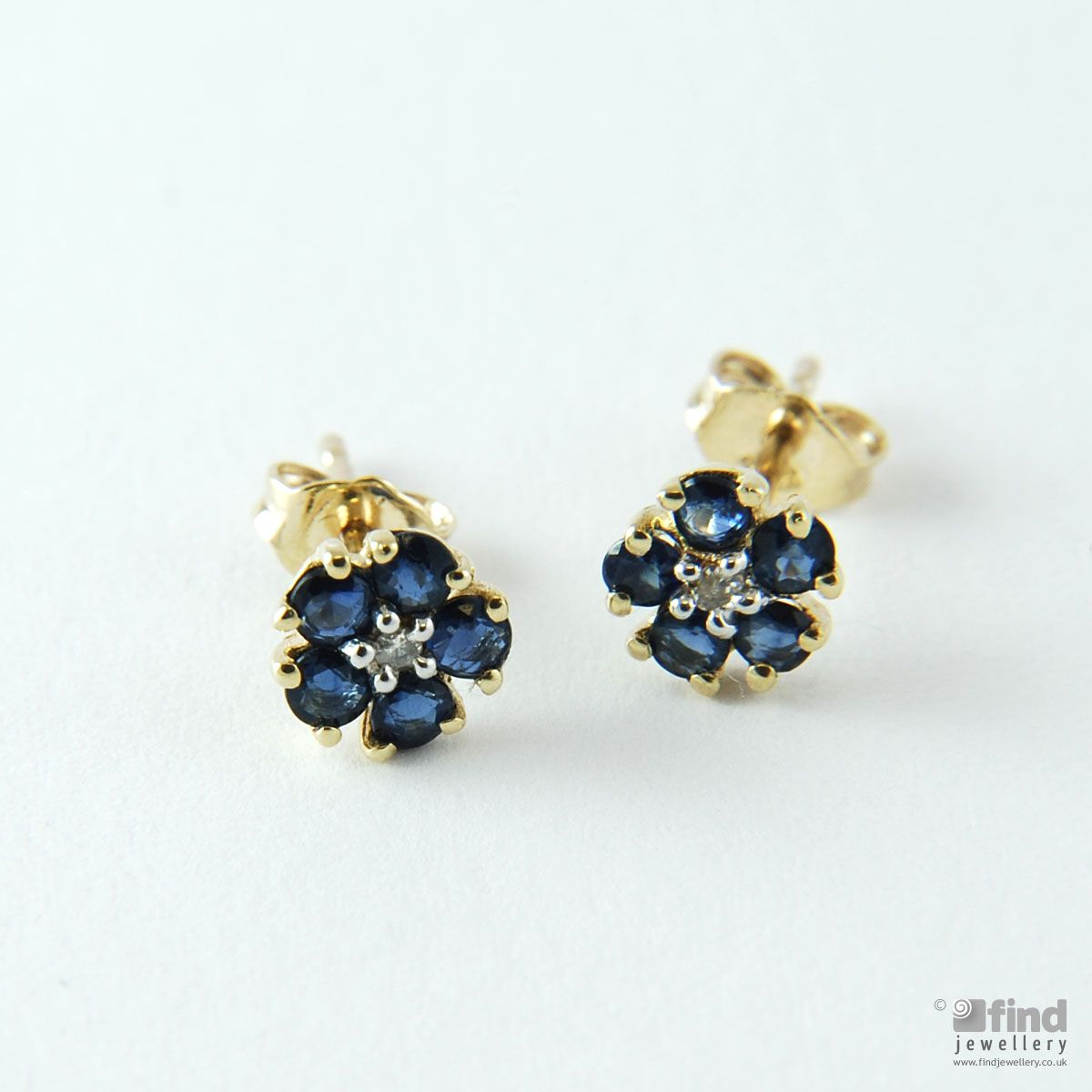 Sapphire and Diamond Daisy Stud Earrings