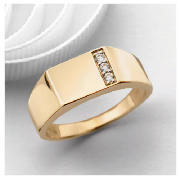 9ct Gold Single Row Cubic Zirconia Gents Ring, U product image