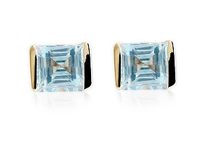 Square Blue Topaz Earrings 070214
