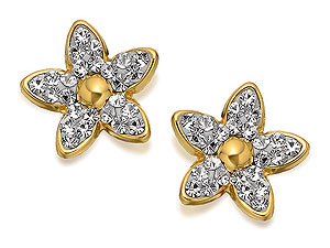 9ct Gold Swarovski Crystal Flower Earrings 9mm product image