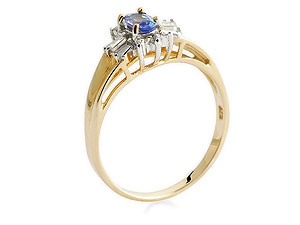 9ct gold Tanzanite and Diamond Cluster Ring 048368-L product image