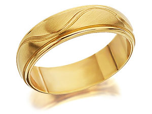 9ct Gold Wavy Band Brides Wedding Ring 5mm - product image
