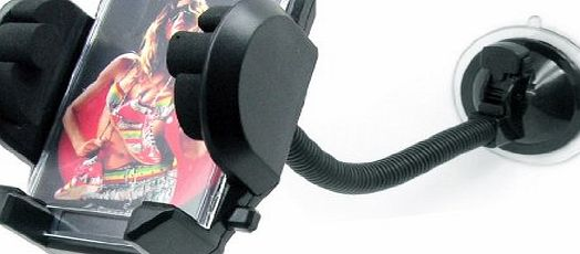 In Car Mobile Phone and PDA Holder (Universal Suction, Flexible Neck Mount)