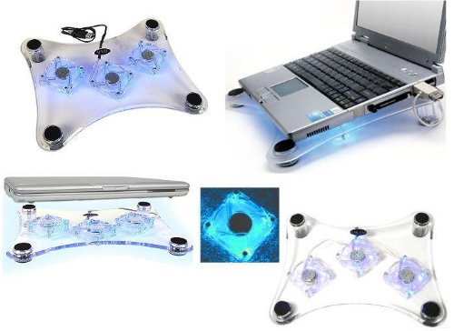 USB 3 Fan LED Light Laptop Notebook Cooler Cooling Tray Pad BLUE LIGHT