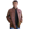 Mens Distressed Brown Leather Offset Biker Jacket Size XL | eBay